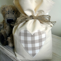 Cream Cotton Door Stop With Laura Ashley Truffle Gingham Fabric Heart Applique