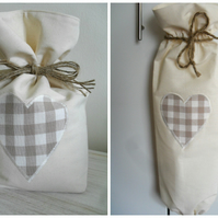 Cotton Door Stop & Carrier Bag Holder With Laura Ashley Truffle Gingham Heart