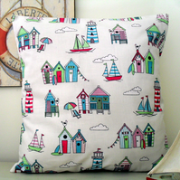 Happy Days Cream Fabric Cushion Cover With Candy Turquoise Beach Huts
