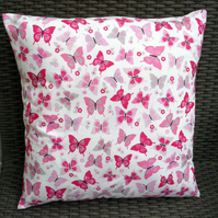 Flutterby Lipstick Pink Butterfly Fabric Cushion Cover