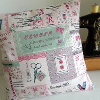 Vintage Sampler Style Sewing Themed Cushion Cover