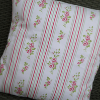 Shabby Chic Clarke & Clarke Floral Stripe Rose Cotton Fabric Cushion Cover