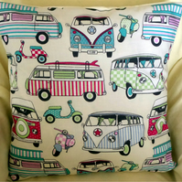 Happy Campers Cream Fabric Cushion Cover With Candy Turquoise Camper Vans