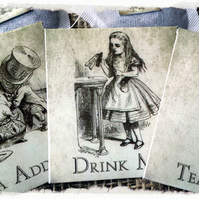 Set of 3 Alice in Wonderland Novelty Tea Bag Envelope & Tea Bag