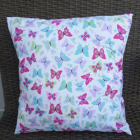 Flutterby Candy Turquoise Butterfly Fabric Cushion Cover