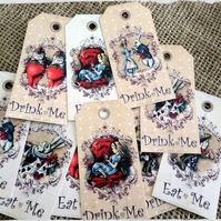 10 Alice in Wonderland Themed Eat Me  Drink Me Gift Tags