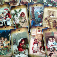 Set of 12 Traditional Vintage Style Christmas Gift Tags