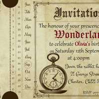 3 x Alice in Wonderland Themed Vintage Style Admit One Invitation Tickets