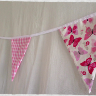 'Flutterby' Lipstick Pink Butterfly Fabric Bunting - Various Lengths 5m -16Flags