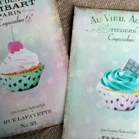 "2 Large Shabby Chic French Cupcake Vintage Style Cards   7"" x 5"""
