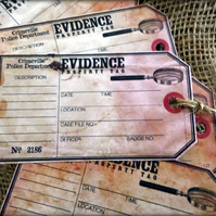 6 'Evidence Property' Tags,Labels for Parties or Table Decorations
