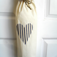 Carrier Bag Holder With Navy Stripe Ticking Fabric Heart