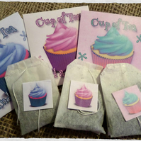 Cup of Tea And a Cupcake Novelty Tea Bag Envelope & Tea Bag x 3