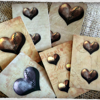 Set of 8 Vintage Steampunk Hearts Style Tags,Toppers,Embellishments