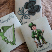 Set of 3 St.Patrick Irish Good Luck Tea Bag Envelopes