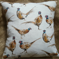 "Countryside Animals 'Pheasant' Print Cotton Fabric Cushion Cover 16"" x 16"""