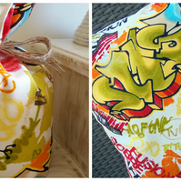 "Artwall Graffiti Fabric 16"" Cushion Cover and Matching Door Stop"