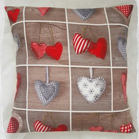 "Rustic Hearts Primitive Folk Style 16"" Cushion Cover"