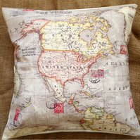 "Atlas World Map 16"" Cushion Cover"