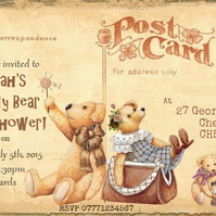 4 x Teddy Bear's Picnic Personalised Invitations & Envelopes - Any Occasion