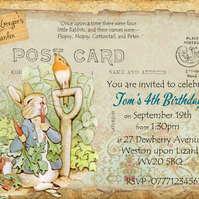 4 x Peter Rabbit Personalised  Invitations & Envelopes or Thank You Cards