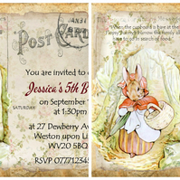 4x Peter Rabbit Personalised Invitations or Thank You Cards