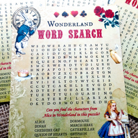 10 x Alice In Wonderland Themed Party Word Search Puzzles