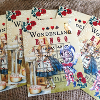 10 Alice In Wonderland Bingo Cards - For Party Games or Table Decorations