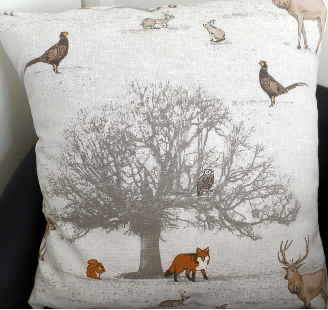 "Fryett's 'Tatton' Woodland Print Cotton Fabric Cushion Cover 16""x16"""