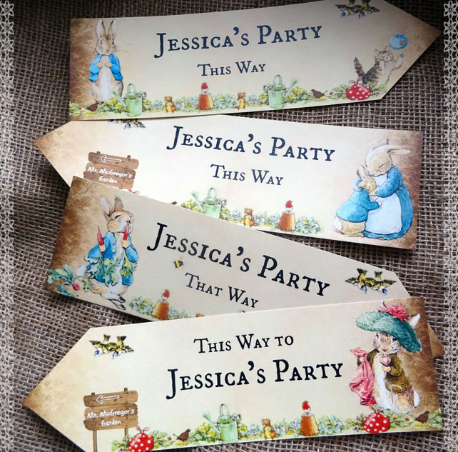 Set of 4 Personalised Beatrix Potter Peter Rabbit Large Party Decoration Arrows