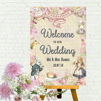 Alice in Wonderland 'Welcome to Our Wedding' A4 Card Sign - Frame Not Included