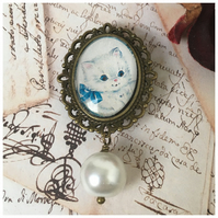 Blue Cat Brooch