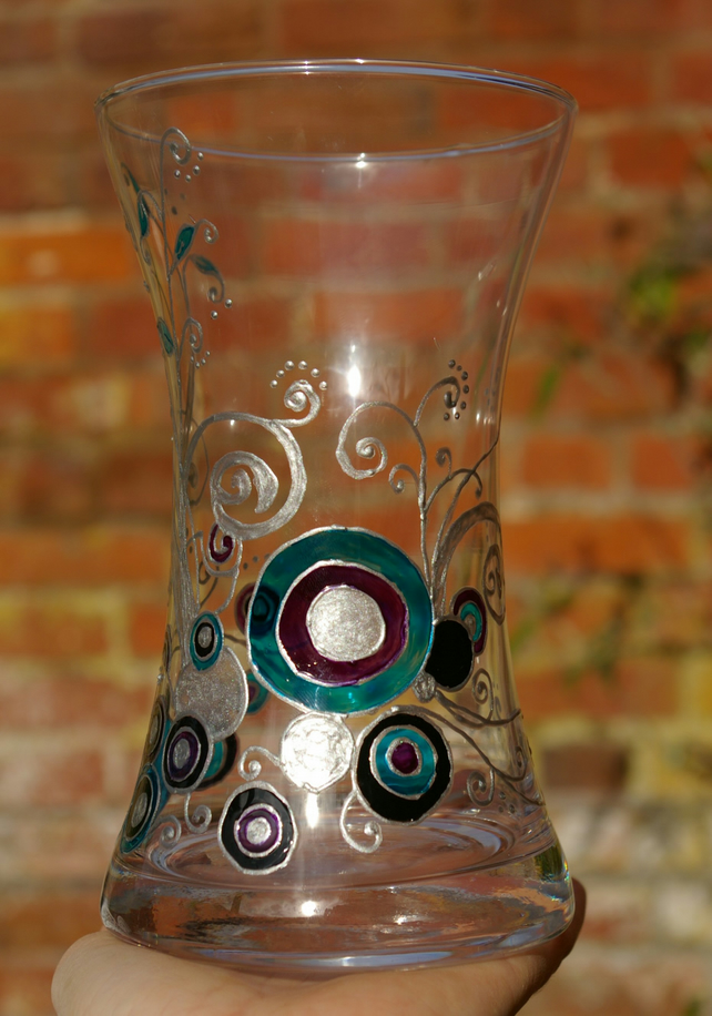 Silver Vines painted glass vase