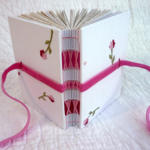 Small Embroidered Rose handbound notebook