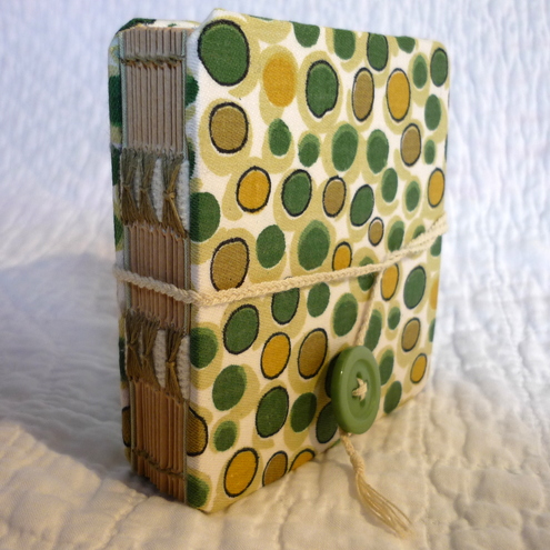 """Green Spotty - Beer Mat"" Recycled hand bound notebook or journal"