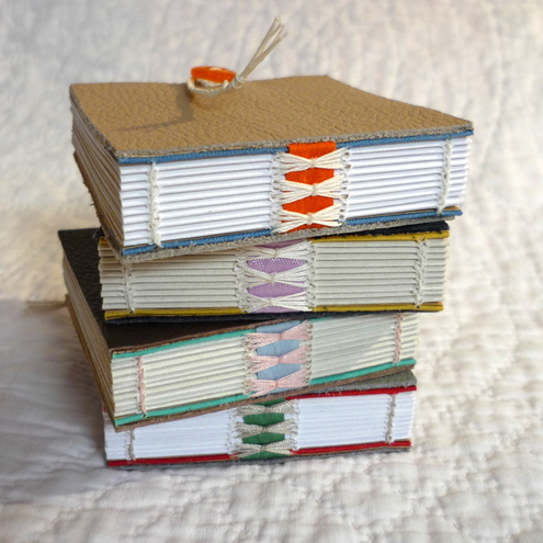 """Mini Shoe Leather"" Recycled hand bound notebooks"