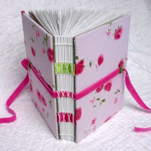 """Beaded Rose"" Recycled hand bound notebook or journal"
