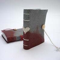 Tiny 'Madder' dyed leather book