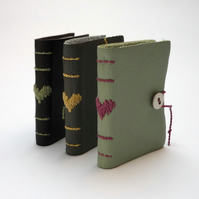 Tiny Heart Book - recycled leather