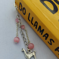 Pink beaded llama bookmark