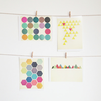 Set of Four Postcards - Geometric