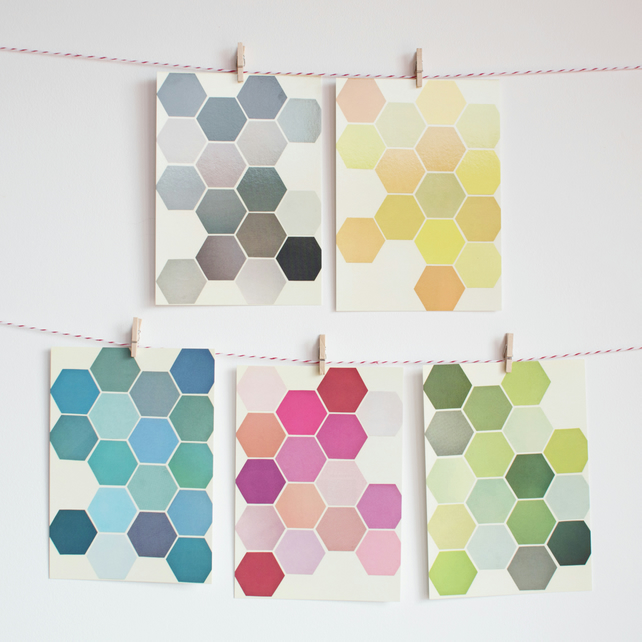 Set of Four Postcards - The Honeycomb Set