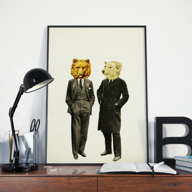 Bear Print, Anthropomorphic Wall Art - The Likely Lads A4 Print