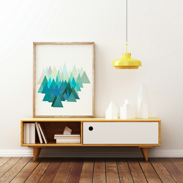 Mountain Print, Abstract Landscape Art, Geometric - Cold Mountain A4 Print
