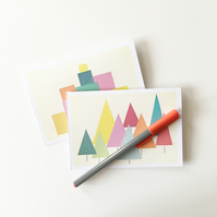 Six Modern Abstract Christmas Cards - Blank