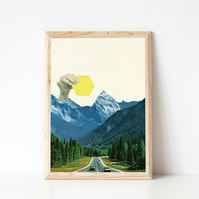 Landscape Print, Surreal Wall Art - Moving Mountains