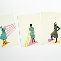 Abstract Female Portrait Postcards - Modern Women