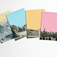 Colourful Retro Postcards - Coloured Skies