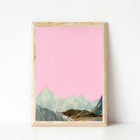 Mountain Print, Pink Wall Art - Silent Hills