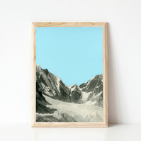 Mountain Print, Blue Wall Art - Blue Skies